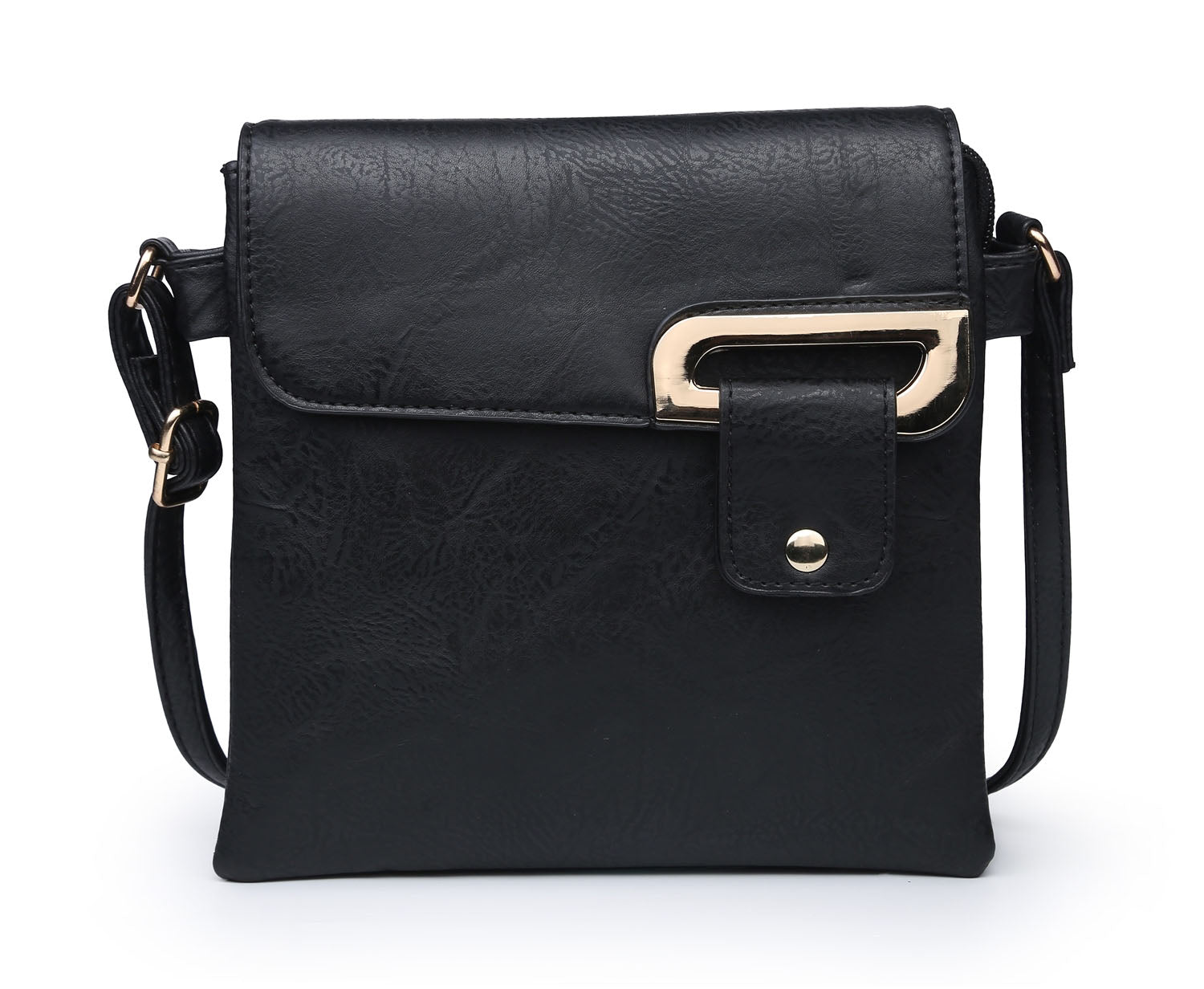 SMALL BLACK MULTI POCKET CROSSBODY MESSENGER BAG
