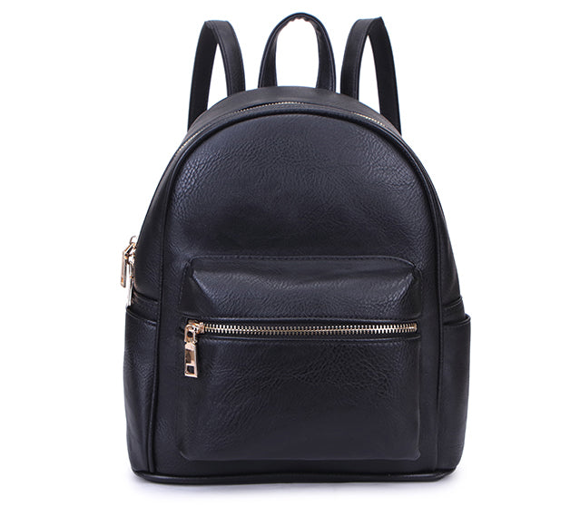 A-SHU SMALL BLACK PLAIN MULTI COMPARTMENT CROSS BODY BACKPACK - A-SHU.CO.UK