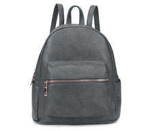 A-SHU SMALL DARK GREY PLAIN MULTI COMPARTMENT CROSS BODY BACKPACK - A-SHU.CO.UK