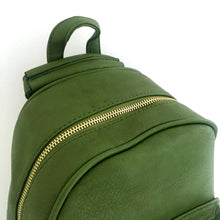 A-SHU SMALL GREEN PLAIN MULTI COMPARTMENT CROSS BODY BACKPACK - A-SHU.CO.UK