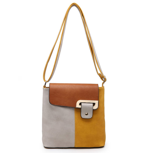 SMALL GREY MULTI POCKET CROSSBODY MESSENGER HANDBAG