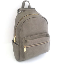 A-SHU SMALL LIGHT GREY PLAIN MULTI COMPARTMENT CROSS BODY BACKPACK - A-SHU.CO.UK