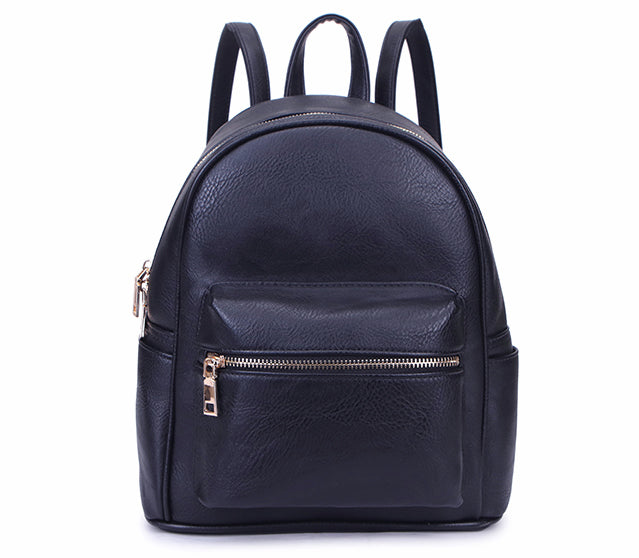 A-SHU SMALL NAVY BLUE PLAIN MULTI COMPARTMENT CROSS BODY BACKPACK - A-SHU.CO.UK