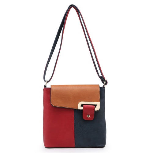 SMALL RED MULTI POCKET CROSSBODY MESSENGER HANDBAG