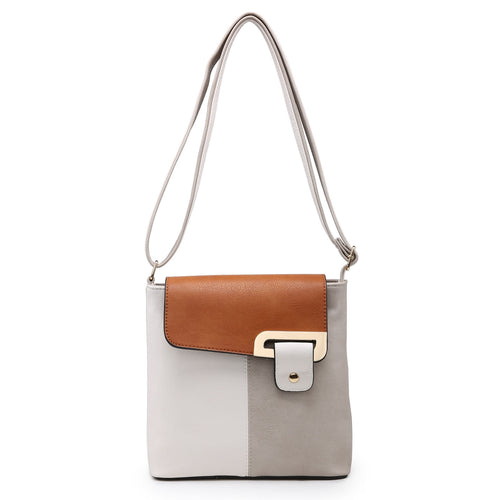 SMALL WHITE MULTI POCKET CROSSBODY MESSENGER HANDBAG