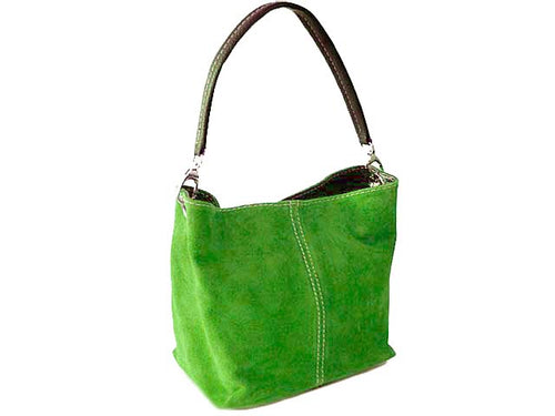 A-SHU SMALL APPLE GREEN GENUINE SUEDE MULTI POCKET LIGHTWEIGHT HANDBAG - A-SHU.CO.UK