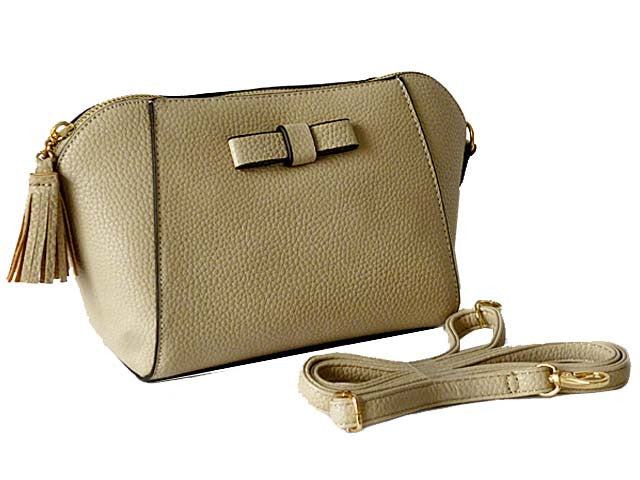 SMALL BEIGE CROSS-BODY SHOULDER BAG WITH LONG STRAP