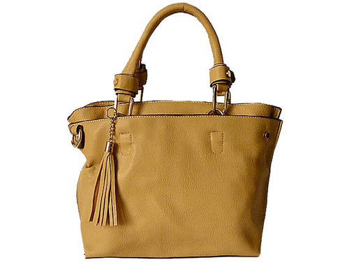 SMALL BEIGE MULTI-COMPARTMENT TASSEL HANDBAG WITH LONG SHOULDER STRAP