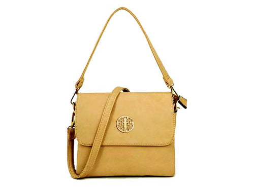 A-SHU SMALL BEIGE MULTI POCKET HANDBAG WITH LONG CROSS BODY STRAP - A-SHU.CO.UK