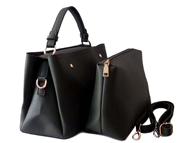 SMALL BLACK 2 PIECE HOLDALL HANDBAG SET WITH DETACHABLE INNER BAG AND LONG STRAP