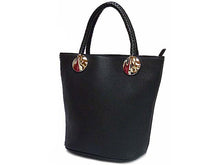 SMALL BLACK BUCKET HANDBAG WITH WOVEN HANDLES AND LONG SHOULDER STRAP