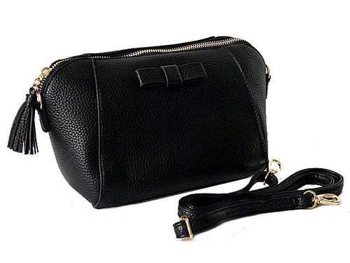 SMALL BLACK CROSS-BODY SHOULDER BAG WITH LONG STRAP