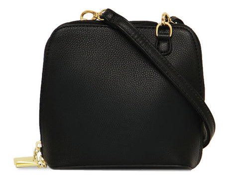 SMALL BLACK PLAIN CROSS BODY BAG WITH LONG OVER SHOULDER STRAP