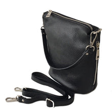 A-SHU SMALL BLACK GENUINE ITALIAN LEATHER SHOULDER HANDBAG WITH CROSS BODY STRAP - A-SHU.CO.UK