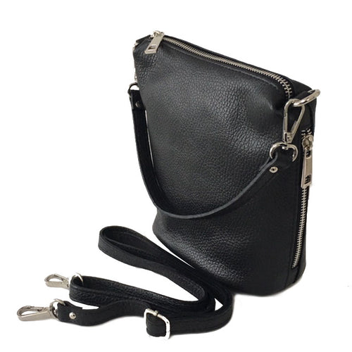 SMALL BLACK GENUINE ITALIAN LEATHER SHOULDER HANDBAG WITH CROSS BODY STRAP