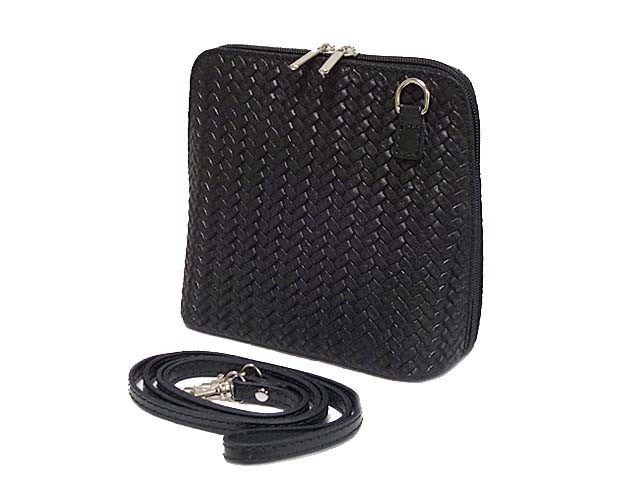 SMALL BLACK GENUINE LEATHER WOVEN BAG WITH LONG SHOULDER STRAP