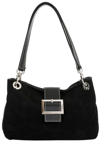 A-SHU SMALL BLACK GENUINE SUEDE MULTI POCKET HANDBAG WITH BUCKLE - A-SHU.CO.UK