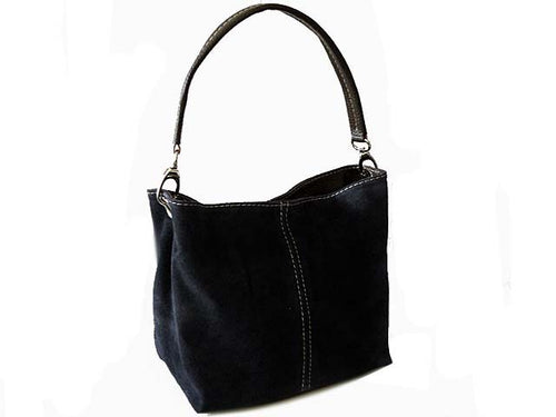 SMALL BLACK GENUINE SUEDE MULTI POCKET LIGHTWEIGHT HANDBAG