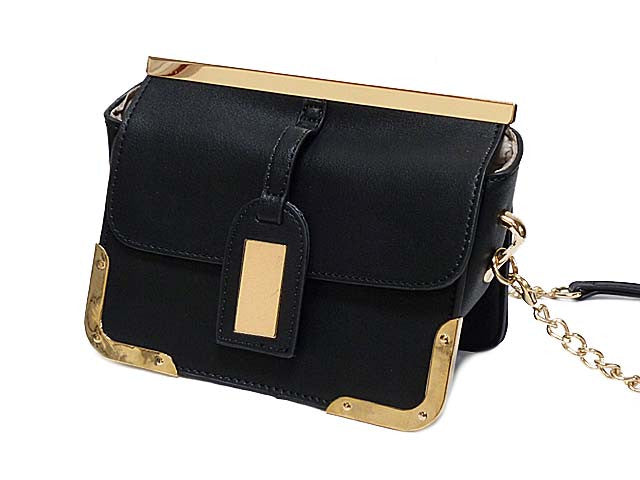 ORDER BY REQUEST - SMALL BLACK LEATHER EFFECT CROSS-BODY CHAIN SHOULDER BAG
