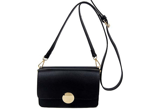 A-SHU SMALL BLACK LEATHER EFFECT DOUBLE SIDED CROSS-BODY SHOULDER BAG - A-SHU.CO.UK