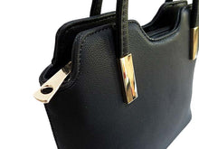 SMALL BLACK MULTI-COMPARTMENT LIGHTWEIGHT HANDBAG WITH LONG STRAP