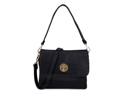 SMALL BLACK MULTI POCKET HANDBAG WITH LONG CROSS BODY STRAP