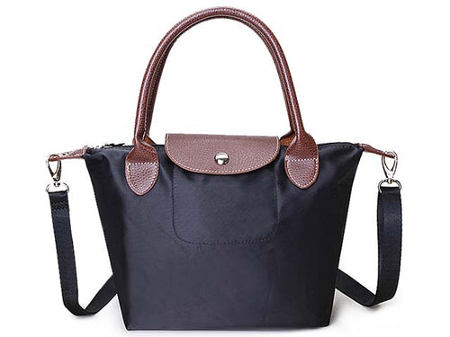 SMALL BLACK PART GENUINE LEATHER FOLD-AWAY CROSSBODY HANDBAG WITH STRAP