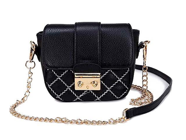 SMALL BLACK QUILTED CROSS BODY SHOULDER BAG / CLUTCH BAG WITH LONG CHAIN STRAP