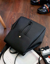 SMALL BLACK SIMPLE FAUX LEATHER BACKPACK / RUCKSACK