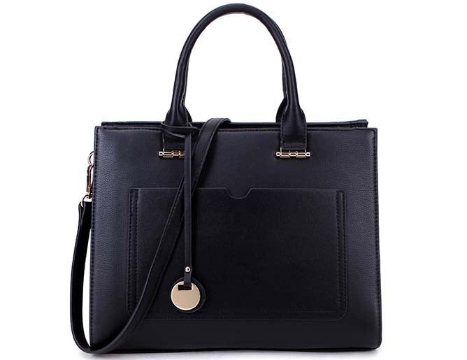 A-SHU SMALL BLACK SMART MULTI COMPARTMENT HANDBAG WITH LONG SHOULDER STRAP - A-SHU.CO.UK