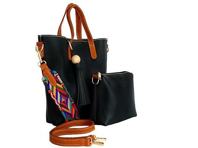 A-SHU SMALL BLACK TASSEL TOTE BAG SET WITH CROSSBODY BAG AND LONG SHOULDER STRAPS - A-SHU.CO.UK