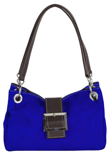 SMALL BLUE GENUINE SUEDE MULTI POCKET HANDBAG WITH BUCKLE