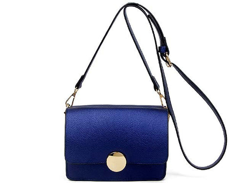A-SHU SMALL BLUE LEATHER EFFECT DOUBLE SIDED CROSS-BODY SHOULDER BAG - A-SHU.CO.UK