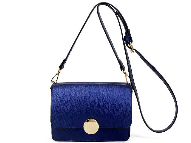 SMALL BLUE LEATHER EFFECT DOUBLE SIDED CROSS-BODY SHOULDER BAG