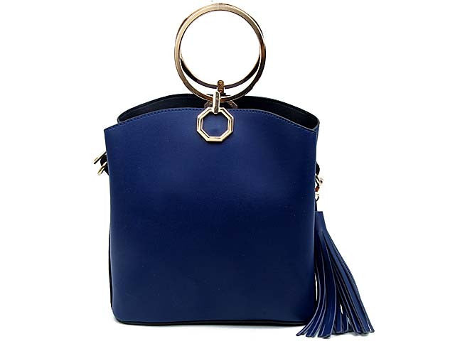 A-SHU SMALL BLUE MULTI-COMPARTMENT HOLDALL HANDBAG WITH TASSEL DESIGN - A-SHU.CO.UK