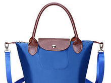 SMALL BLUE PART GENUINE LEATHER FOLD-AWAY CROSSBODY HANDBAG WITH STRAP