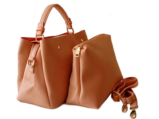 A-SHU SMALL BLUSH PINK 2 PIECE HOLDALL HANDBAG SET WITH DETACHABLE INNER BAG AND LONG STRAP - A-SHU.CO.UK