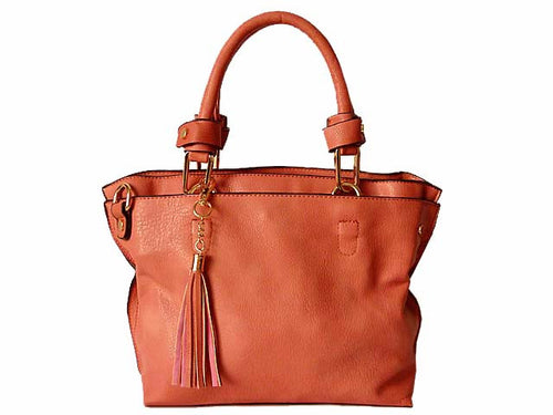 SMALL BLUSH PINK MULTI-COMPARTMENT TASSEL HANDBAG WITH LONG SHOULDER STRAP
