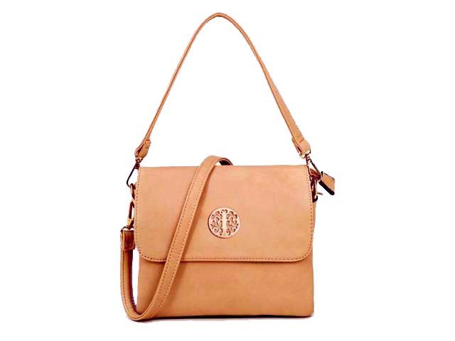 SMALL BLUSH PINK MULTI POCKET HANDBAG WITH LONG CROSS BODY STRAP