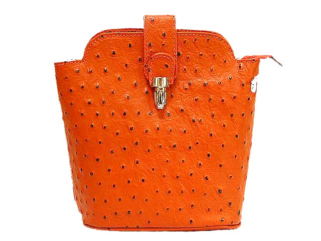 SMALL ORANGE GENUINE OSTRICH LEATHER BAG WITH LONG SHOULDER STRAP