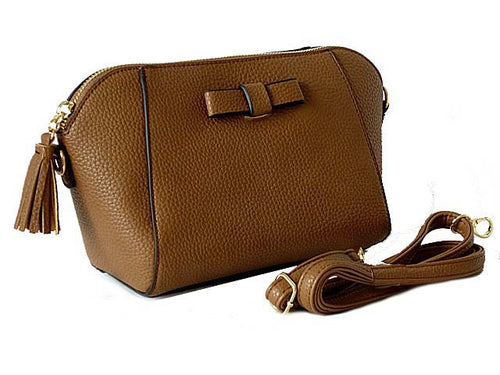 SMALL BROWN CROSS-BODY SHOULDER BAG WITH LONG STRAP