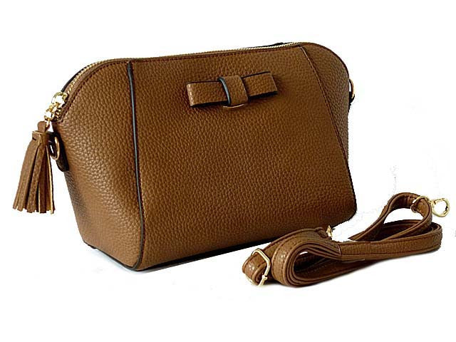 A-SHU SMALL BROWN CROSS-BODY SHOULDER BAG WITH LONG STRAP - A-SHU.CO.UK
