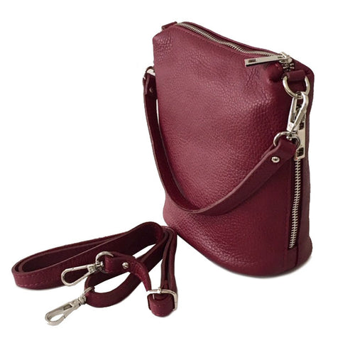 SMALL BURGUNDY GENUINE ITALIAN LEATHER SHOULDER HANDBAG WITH CROSS BODY STRAP