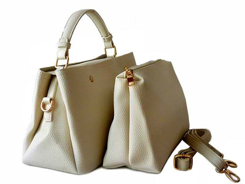 A-SHU SMALL CREAM 2 PIECE HOLDALL HANDBAG SET WITH DETACHABLE INNER BAG AND LONG STRAP - A-SHU.CO.UK