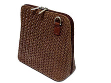 ORDER BY REQUEST - SMALL DARK BROWN GENUINE LEATHER WOVEN BAG WITH LONG SHOULDER STRAP