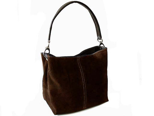 A-SHU SMALL BROWN GENUINE SUEDE MULTI POCKET LIGHTWEIGHT HANDBAG - A-SHU.CO.UK