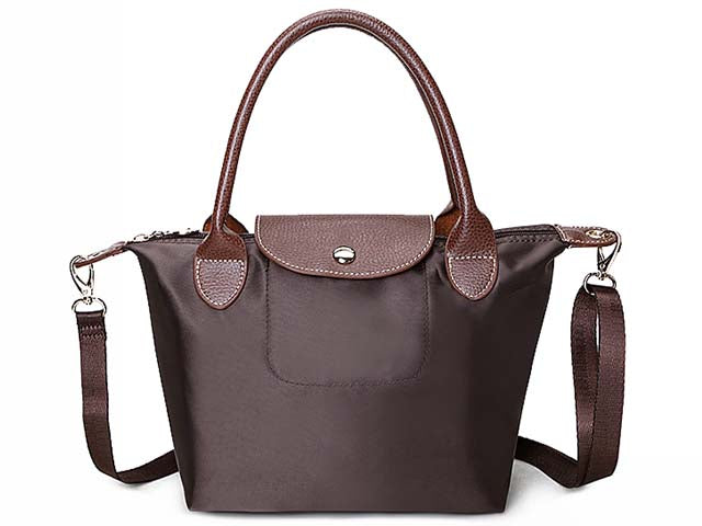 SMALL DARK BROWN PART GENUINE LEATHER FOLD-AWAY CROSSBODY HANDBAG WITH STRAP