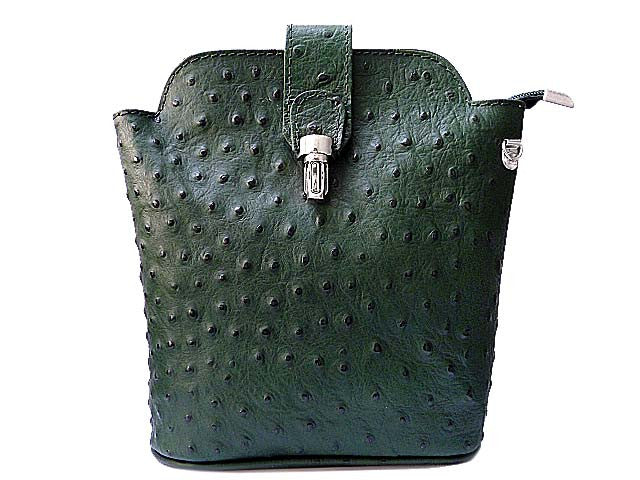 SMALL DARK GREEN GENUINE OSTRICH LEATHER BAG WITH LONG SHOULDER STRAP