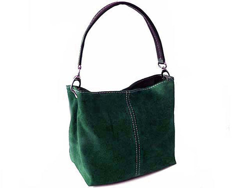 SMALL DARK GREEN GENUINE SUEDE MULTI POCKET LIGHTWEIGHT HANDBAG