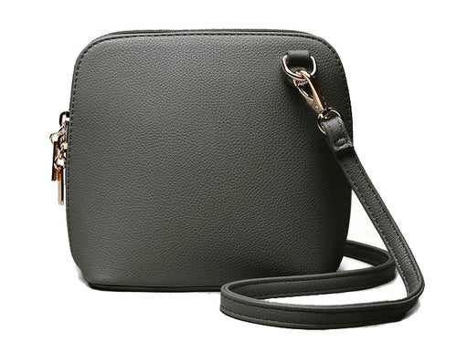 SMALL DARK GREY PLAIN CROSS BODY BAG WITH LONG OVER SHOULDER STRAP